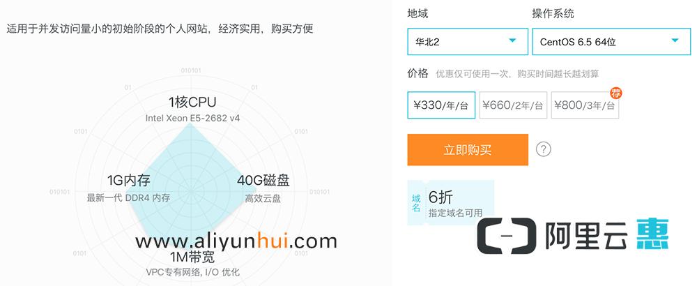 阿里云1核1G内存330元一年