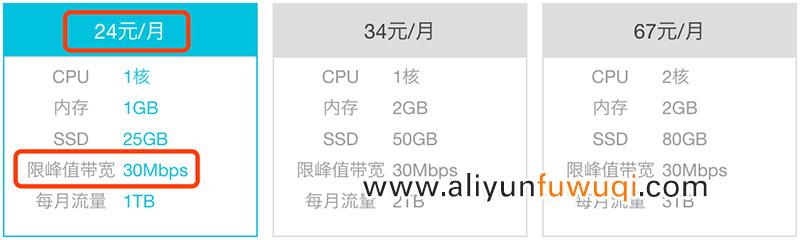阿里云轻量服务器30M宽带24元/月